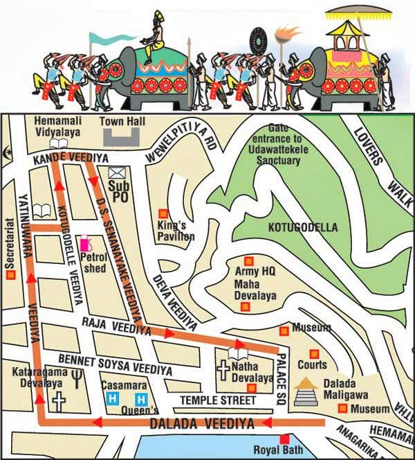 Map of Kandy Perahera route